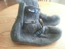 Genuine Vintage Swedish Military Surplus Wool Over Boots W/ Leather Straps