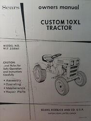 Sears Custom 10xl Lawn Garden Tractor Engine And Mower Owner And Parts 3 Manual S