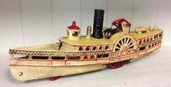 Vintage Style Cast Iron Boat, City Of N.y. Steamboat Ferry Paddle Boat Toy