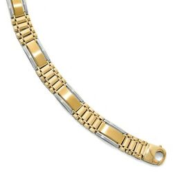 Leslieand039s Real 14kt Two-tone Polished And Satin Menand039s Chain Bracelet 8 Inch