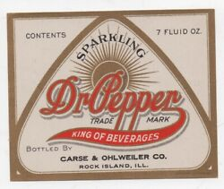 Antique Dr Pepper Advertising Label Carse And Ohlweiler Rock Island Illinois