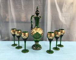 Vintage Czech Republic Crystal Bohemia Sets Wine Service Decanter With Glasses