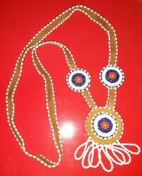 Vintage Late 60s/early 70s Ojibwe Chippewa Hand Beaded Necklace Long Suede Cord