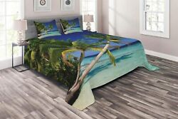 Ambesonne Ocean Coverlet, Maldives Bay Paradise Resort Summer In Pacific Holiday