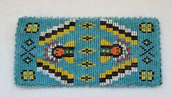 Native American Indian Vintage Beaded Leather Wallet Pouch Inside Is Leather