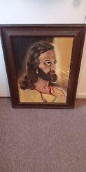 Beautiful Antique Oil Painting Canvas Jesus Christ Religious Christianity 30x24