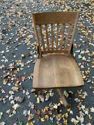 W.h. Gunlocke Antique Wood Swivel Office Chair 110-s . Local Pick Up Only