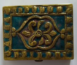 Line Vautrin - Enamel And Bronze Compact Box Poudrier Circa 1940/45 Signed