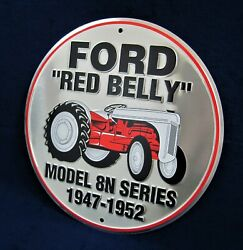 Ford Red-belly Tractor -us Made- Round Embossed Sign Man Cave Garage Bar Décor