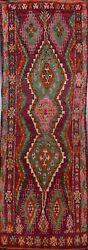 Antique Geometric Tribal Moroccan Oriental Runner Rug Handmade Plush Wool 6and039x16and039