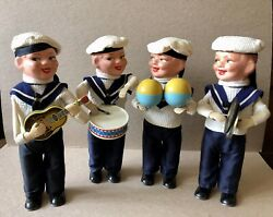 1958 Max Carl West Germany Wind Up Tin Toy Sailor Band, Boys Ahoi Navy Band