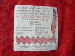 Vintage Virgin Wool Blanket From Southwest Native Tribe Flocks Trible Counsel