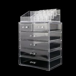 2 in 1 Acrylic Cosmetic Makeup Organizer Jewelry Storage Case Display 6 Drawers