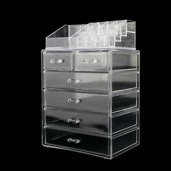 2 in 1 Acrylic Cosmetic Makeup Organizer Jewelry Storage Case Display 6 Drawers $18.99
