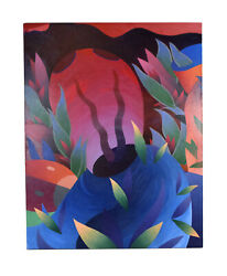 1982 Abstract Surrealist Painting Organic Shapes Steven Heyman Chicago Artist