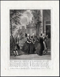 Antique Print-girl In Love-marriage-father-shield-troost-tanje-1811