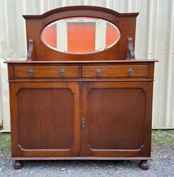 Antique Murphy Bed/cabinet Bed Medium Brown With Mirror.