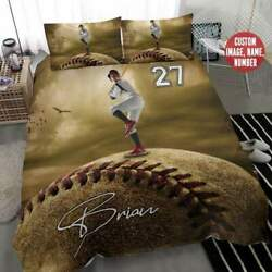 Baseball Fans Custom Personalized Name Number Duvet Cover Bedding Sets Gifts