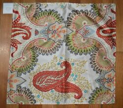 Pottery Barn Linden Print Silk Autumn Pillow Cover Paisley Floral Ivory 20quot; #1