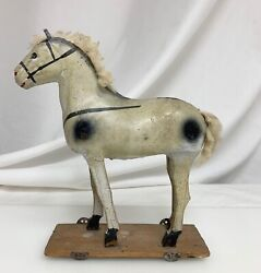Antique Folk Art Composition Horse Pull Toy Germany  - 81362