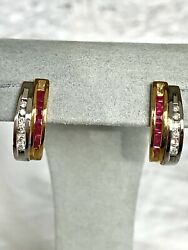 Effy Bh 14k White Gold Diamond Natural Ruby Pave Earring Tcw 0.87/2115/new