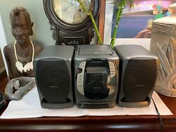 Vintage Optimus Boombox Portable Cd Cassette Recorder Stereo Works Great Cd-3339