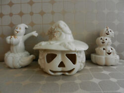 Lenox Halloween Ghost, Stacked Pumpkins, Jack-o-lantern With Hat, Lot Of 3