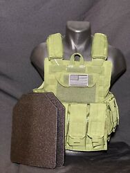 Od Tactical Vest Green Plate Carrier W/ 2 10x12 Curved Plates- In Stock
