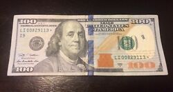100 Dollar Bill Star Note 2009. 1 Hundred With Low Serial Numbers 00829113