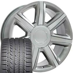 22x9 Wheel And Tire Fits Chevy Gm Escalade Hyper Silver Rims Gy Tires 4739 Cp