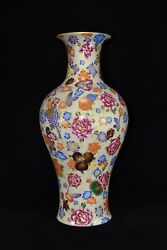 18.8 China Antique Qing Dynasty Qianlong Mark Porcelain Butterfly Flower Vase