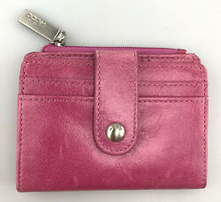 Hobo Wallet Card Case Pink Leather Small Snap Closure Bifold Coin Purse $31.98