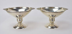 Pair Fine Danish Jensen Style Compotes Candy Bowls Tazzas Sterling Silver