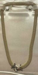 14k Two Tone Multi Row Beaded Concave Necklace With Fancy Toggle Lock