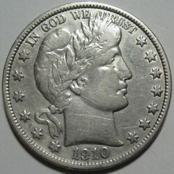 = 1910 Vf Barber Half, Cleaned, Better Date, Free Shipping