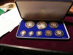 1975 Silver Jamaica Coinage 8 Coin Proof Set Original Packaging