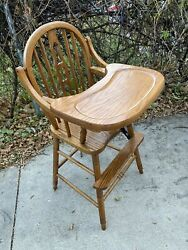 Quality Vintage Medium Finish Oak Wooden Baby Feeding High Chair And Swing Up Tray