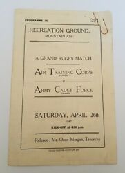 1947 Grand Rugby Match Programme Air Training Corp V Army Cadet Force Wales Rare