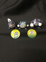 Vintage Pokemon Tomy Figures Poliwag, Poliwhirl And Poliwrath W/ Battle Pogs