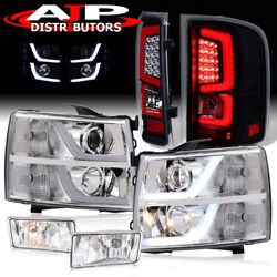Projector Head Lights Led Black Clear Tail Lamps + Fogs For 2007-2013 Silverado