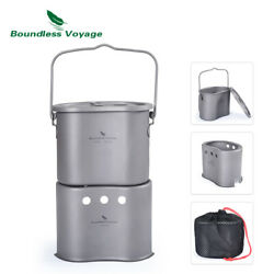 Outdoor Camping 2 In 1 Titanium Pot Wood Stove With Handle Canteen Cup Mess Kit