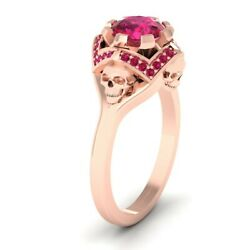 Rose Gold Fn 925 Silver 1.45ctw Pink Ruby Skull Engagement Ring Skull Ring Geeky