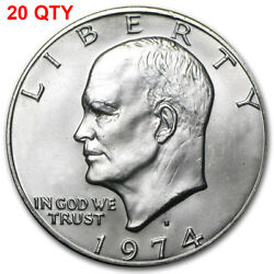 20 1974 S Eisenhower Ike Silver Dollar Brilliant Uncirculated Lot Of 20