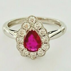 .71ct Pear Cut Ruby Ring Set In A 0.35ct Diamond Halo In 18ct White Gold