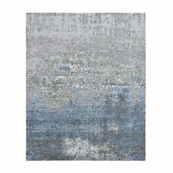 8and039x9and03910 Abstract Design Wool And Silk Dense Weave Handknotted Oriental Rug R59454
