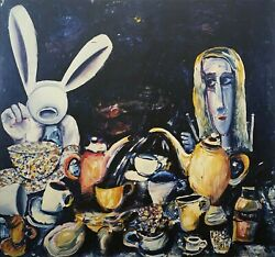 Charles Blackman The Tea Party Large Signed Limited Edition Print 100 X 105cm