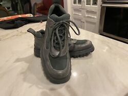 PRADA MEN'S GRAY LEATHER LUG SOLE SHOES US9 UK8 GREAT CONDITION $87.00