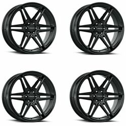 Set 4 24x9.5 Vision Wedge Gloss Black 6x135 Wheels 30mm Rims W/ Lugs