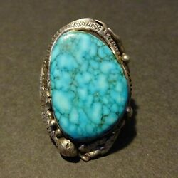 Heavy Vintage Southwestern Sterling Silver Waterweb Turquoise Ring Size 9.25