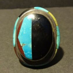 Huge Vintage Southwestern Sterling Silver Turquoise Jet Inlay Ring Size 10.25